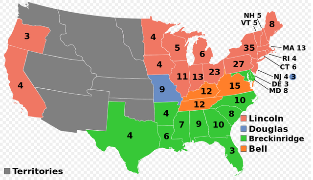 Abraham Lincoln wins the presidency in the 1860 election.