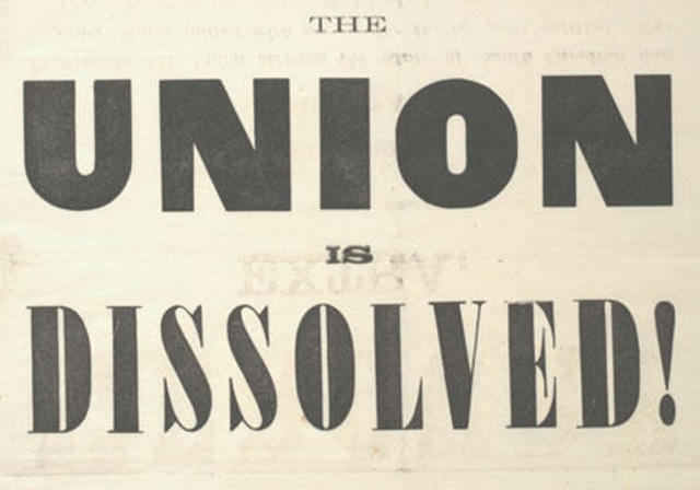 South Carolina secedes from the United States.