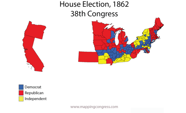 Republicans take a super majority in the House in 1862.