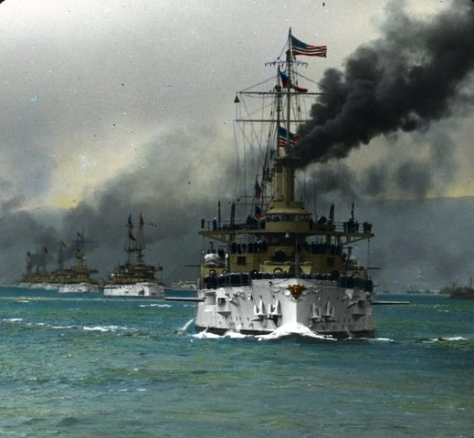 Roosevelt expands the U.S. armed forces power through the Great White Fleet.