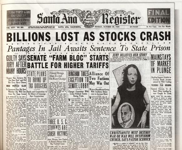 Stock Market crahses starts great depression