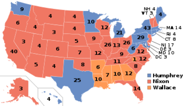 Richard Nixon wins the election of 1968