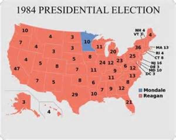 Reagan wins biggest landslide in United States History