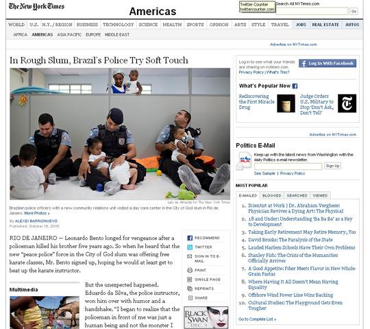 NYT: Em favela violenta, polícia aplica a tática da delicadeza