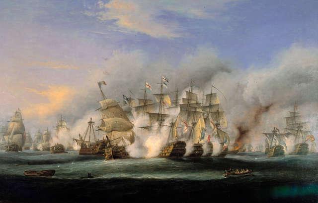 Royal Navy defeats a French and Spanish fleet at the Battle of Trafalgar
