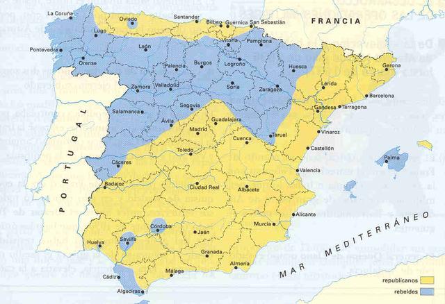 El golpe de Estado y la división de España