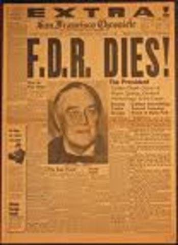 Franklin D. Roosevelt Dies; Truman becomes President