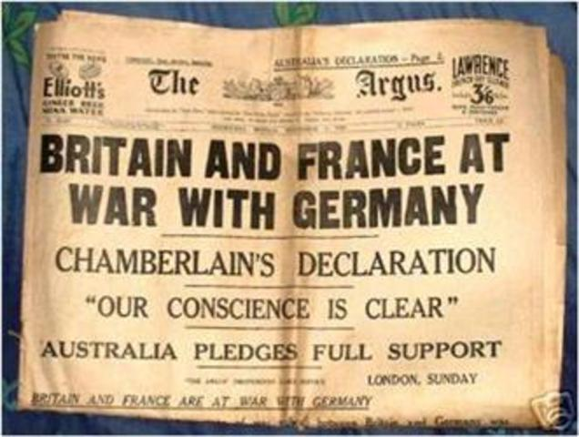 Honoring their support of Poland, Great Britain and France declare war on Germany
