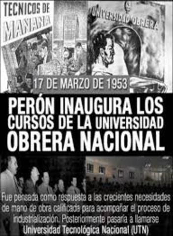 SE INAUGURARON LOS CURSOS DE LA U.O.N. POR EL GRAL. JUAN D. PERÓN