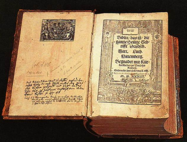 Martin Luther publishes the first Bible in German