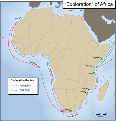 The Portuguese explore the coast of Africa
