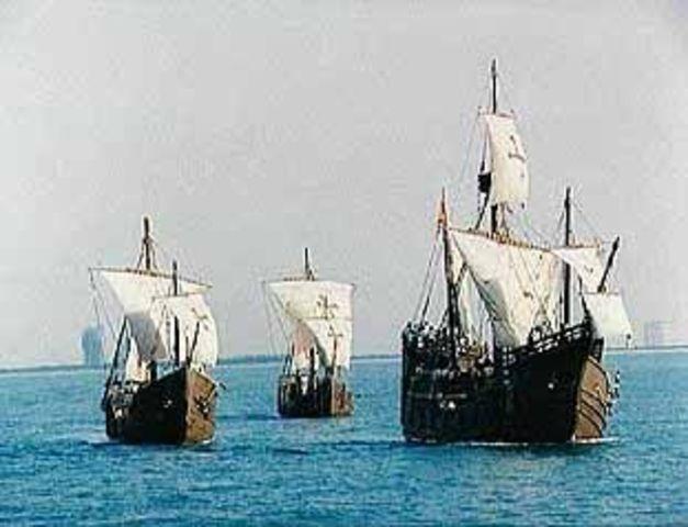 Christopher Columbus crosses the Atlantic