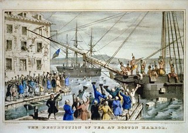 A protest called the Boston Tea Party takes place