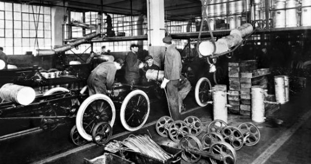 First moving assembly line invented