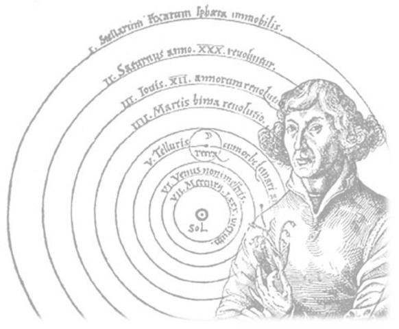 Copernicus states his heliocentric theory of the solar system.