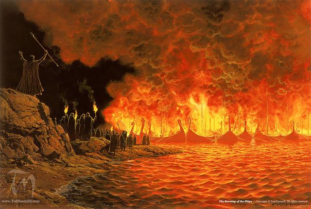 Attraversamento dello Helcaraxë e incendio delle navi