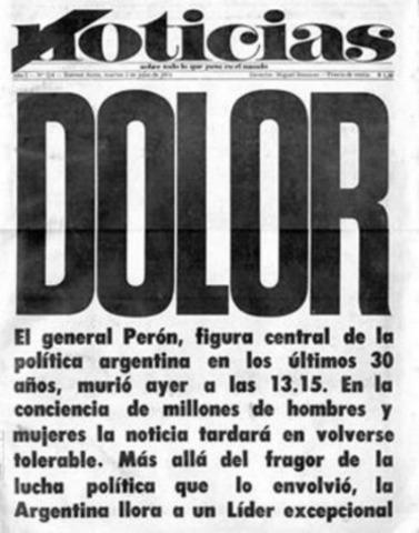 Muere el Gral. Juan Domingo Perón