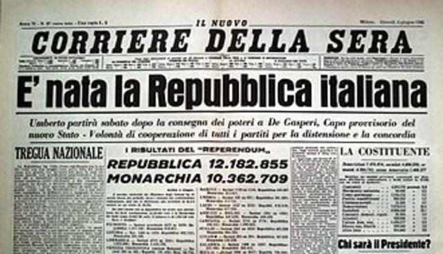 Referendum - nasce la Repubblica Italiana