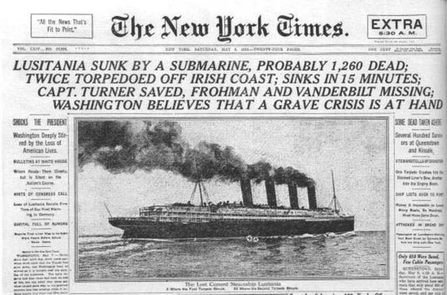 "Hundimiento del ""Lusitania""."