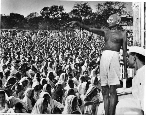 Gandi's Travels Stressing Nonviolent Resistance