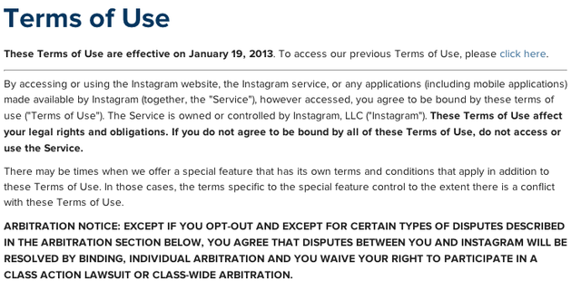 Instagram Updates Terms & Conditions