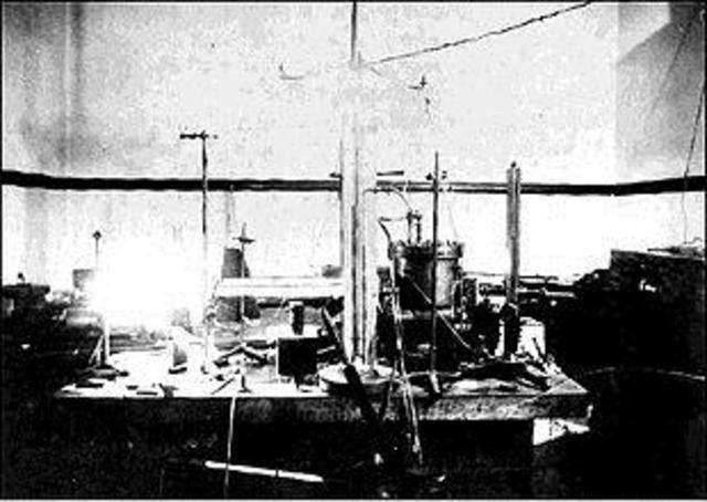 Millikan determina masa y carga del electrón.