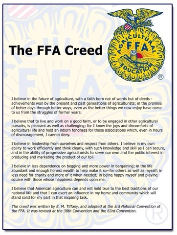 Official FFA Creed. Official Uniform.
