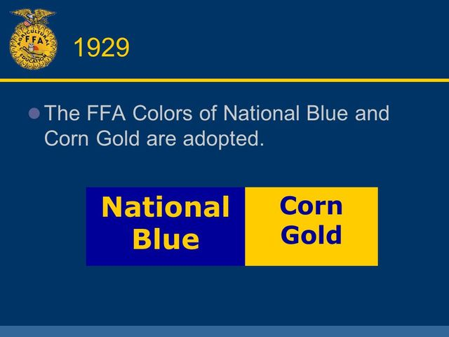 National blue and corn gold
