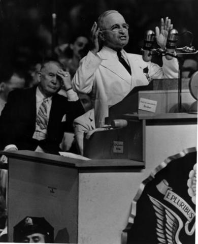 Harry S. Truman spoke during the national convention.