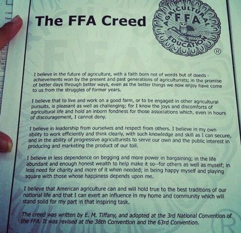 Official FFA Creed, written by E.M. Tiffany, adopted.