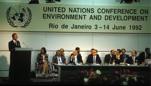 Conferencia de las Naciones Unidad sobre el Medio Ambiente y del Desarrollo, celebrada en Rió de Janeiro, Brasil.