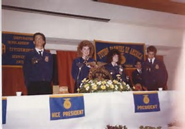 Vice President George H. W. Bush spoke at national convention; Bush was elected president in 1988.