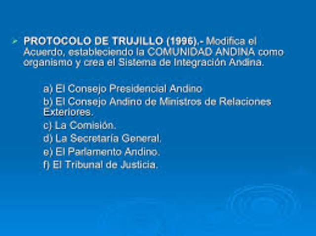 Presidentes aprueban Protocolo de Trujillo y el Acuerdo de Cartagena toma el nombre de Comunidad Andina.