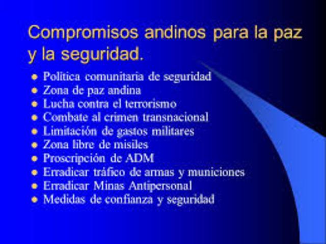Los ministros de Relaciones Exteriores y de Defensa de la CAN aprueban la Carta Andina para la Paz y la Seguridad.