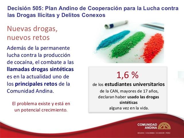 Aprobación de la Norma Andina para el Control de Sustancias Químicas que se utilizan en la fabricación ilícita de estupefacientes y sustancias psicotrópicas (Decisión 602).