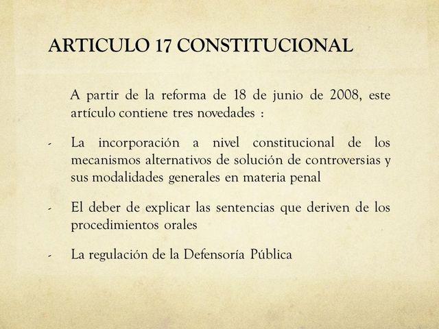 Reforma al artículo 17 Constitucional