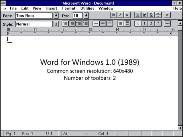 Primera version de Word para Windows