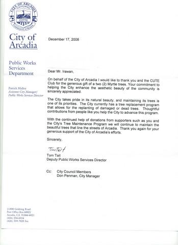 City of Arcadia Thanks CUTE!