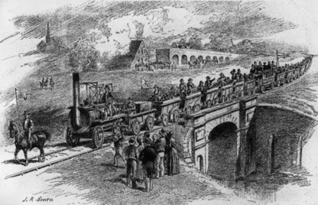Rieles, locomotora y vagones