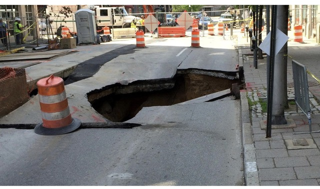Sewer Main Collapse In Mount Vernon on Centre