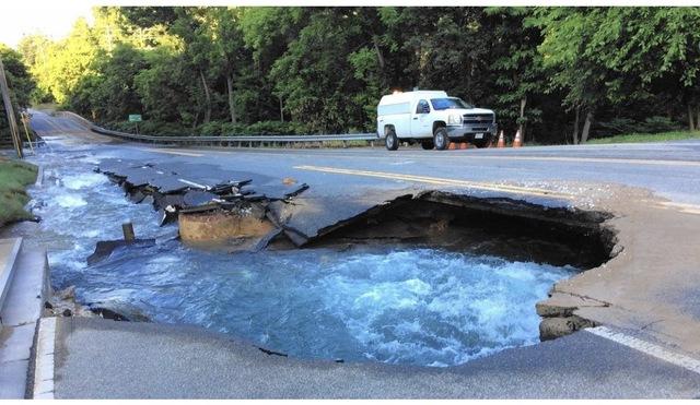Sinkhole in Cockeyesville on York Road