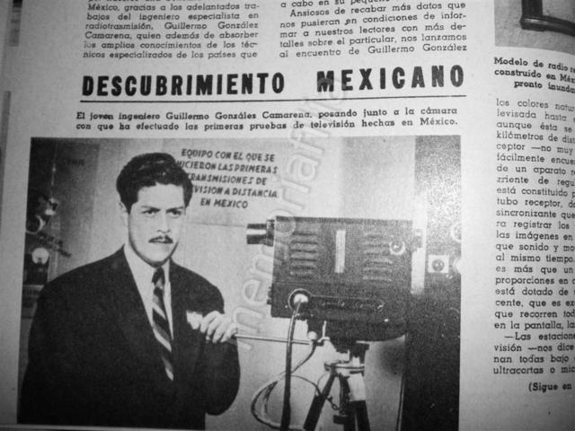 Guillermo González Camarena – Ingeniero mexicano que obtiene el 14 de agosto, en EE.UU., la patente 2296019 por inventar un adaptador cromoscópico simplificado para la televisión