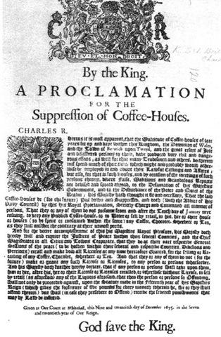 King Charles II suppresses the coffee houses