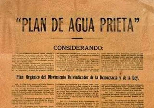 Plan de Agua Prieta en contra de Carranza