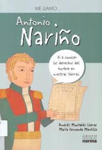Antonio Nariño traduce y publica en su imprenta la Declaración de los Derechos del Hombre y del Ciudadano