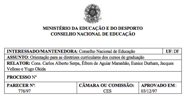 Parecer CNE/CES nº 776/97, 03/12/1997