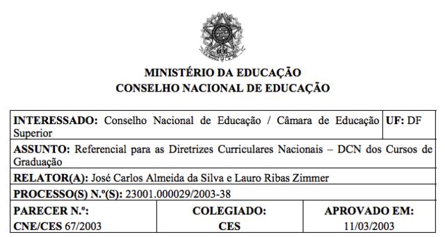 Parecer CNE/CES nº 67/2003, 11/03/2003