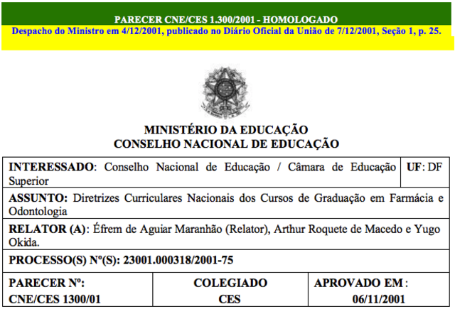 Parecer CNE/CES nº 1300/2001, 06/11/2001
