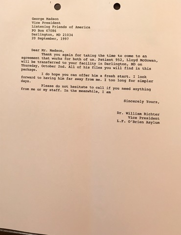 Letter To George Madson At LFoA
