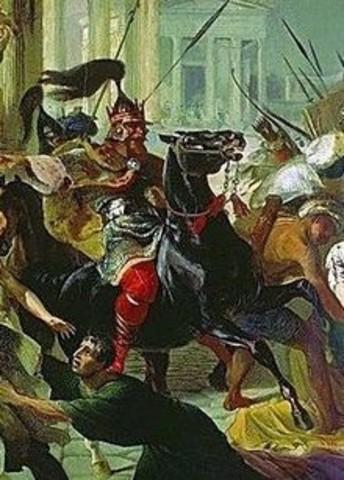 Genserico, rey de los vándalos, saquea Roma